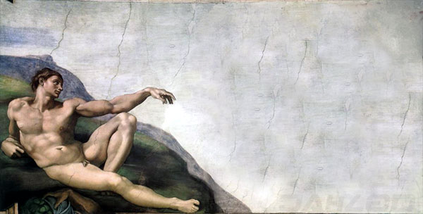 Michelangelo s creation of adam with a significant 21st century